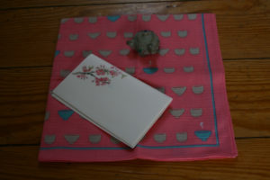 Hanami Tea Accouterments: Fukin with chawan motif, cherry blossom kaishi papers, and kyusu-shaped hashioki