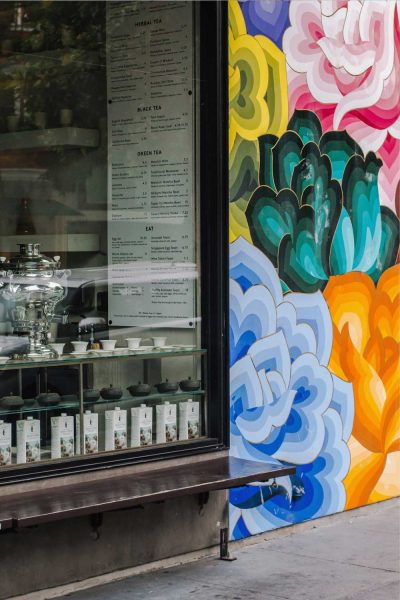 Samovar Tea House in San Francisco's Mission District is next to a brightly painted mural