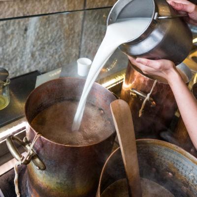 Adding whole milk to Samovar Masala Chai